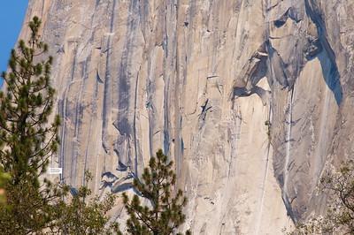 El Capitan being climbed.